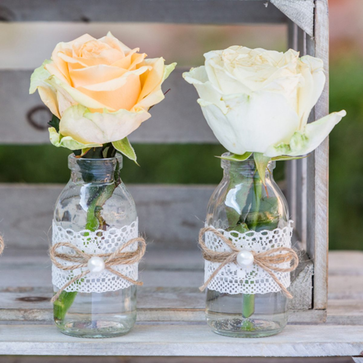 vintage Wedding decor, bottles with flowers