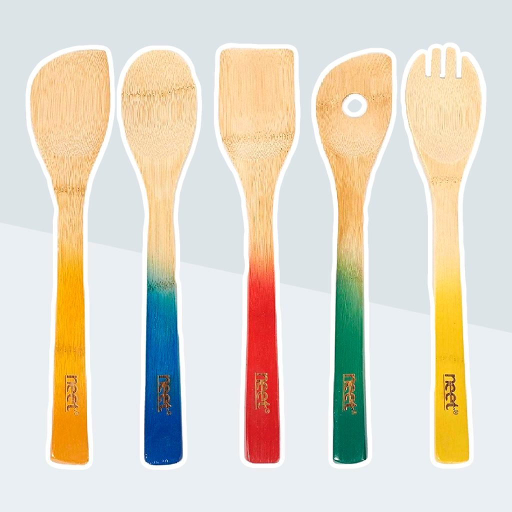 Colorful Bamboo Cooking Utensils - Wooden Spoon & Spatula | 5 Piece Utensil Set | Non Stick Wooden Spoons Tools Gadgets For Kitchen Unique Gift Idea