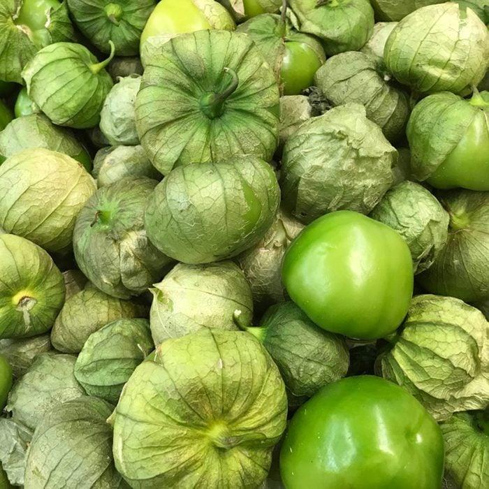 Fresh green tomatillo on the market