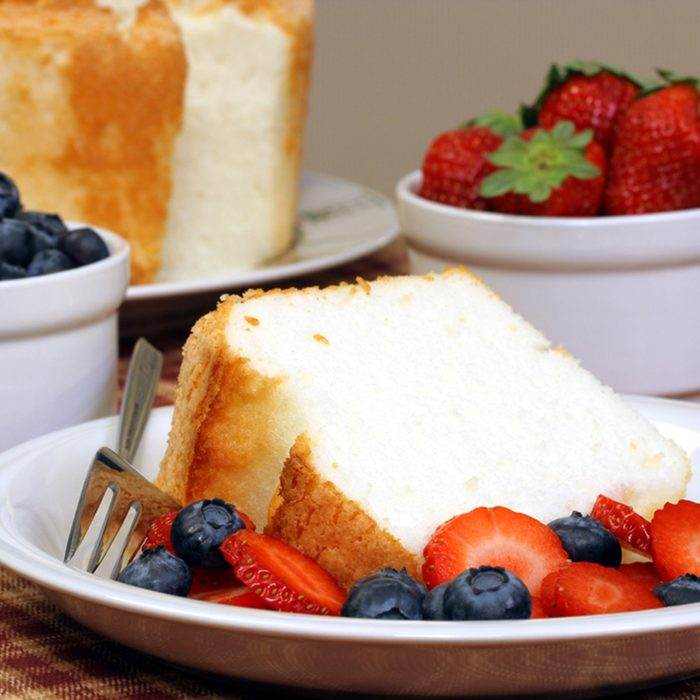 Sponge Cake, fresh blueberries and strawberries.