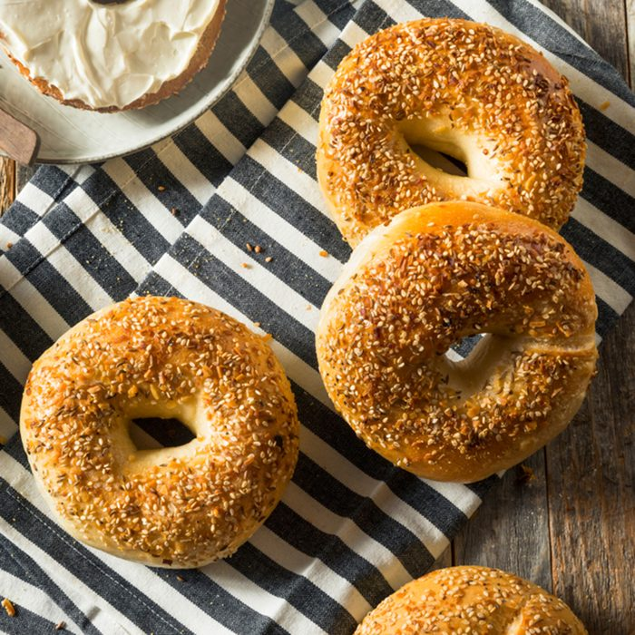 Round Warm Everything Bagels Ready to Eat