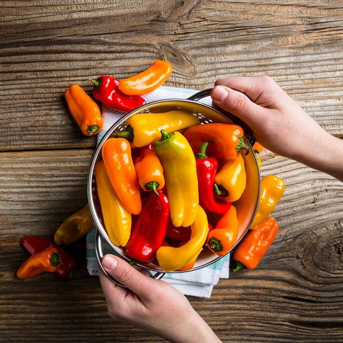 Color Healthy Bell Peppers with helping hands