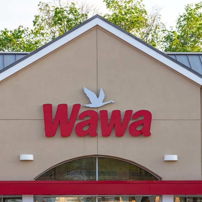 Exterior sign of WaWa, a chain of fast food, gas, and convenience stores, which has over 750 locations