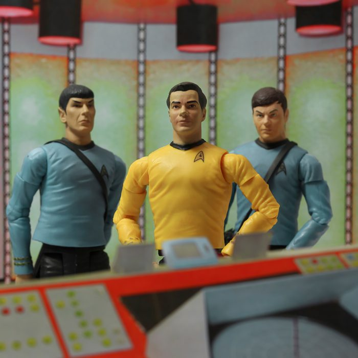 Recreation of a scene from the 1960s television science fiction show Star Trek, where Captain Kirk Doctor McCoy & Mr. Spock beam down to the planet surface