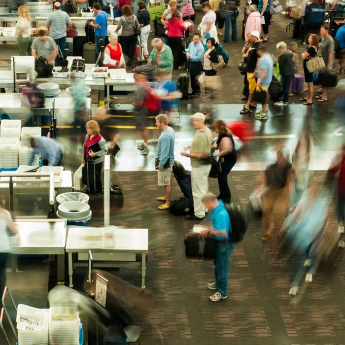 TSA lines at Denver International Airport, Colorado.