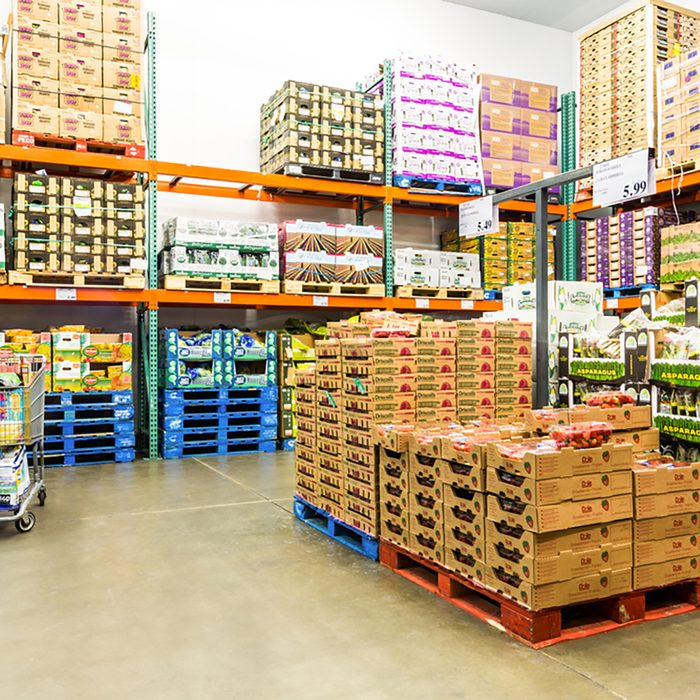 Fresh Produce refrigerated room in a Costco store.