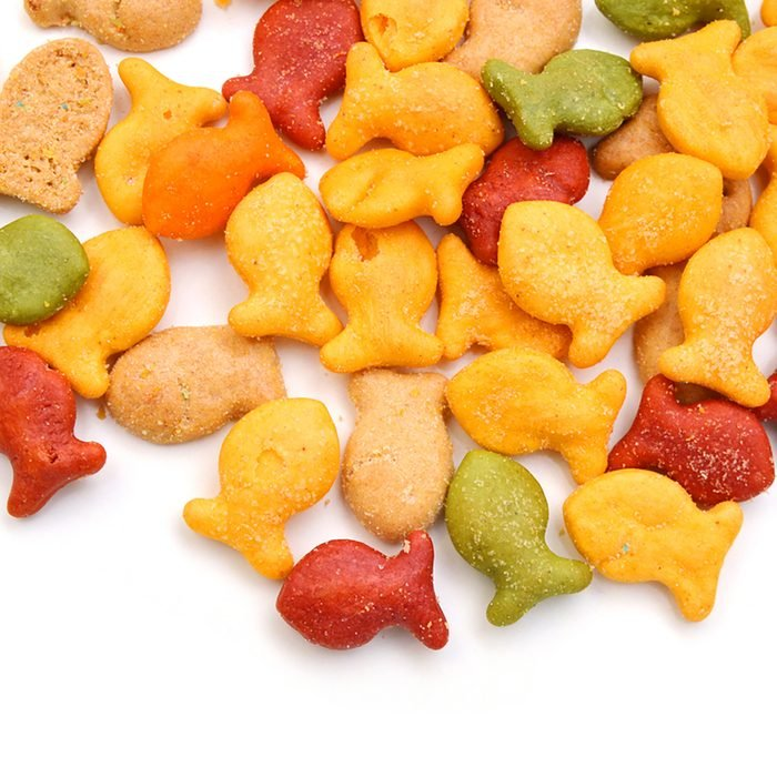 A scaterring of yellow goldfish crackers