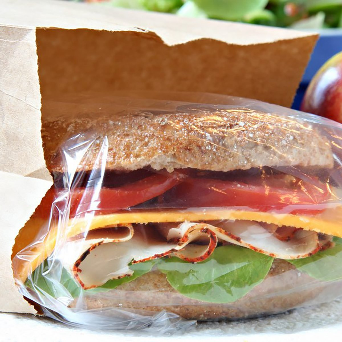 sandwich wrapped in plastic in paper bag, sack lunch