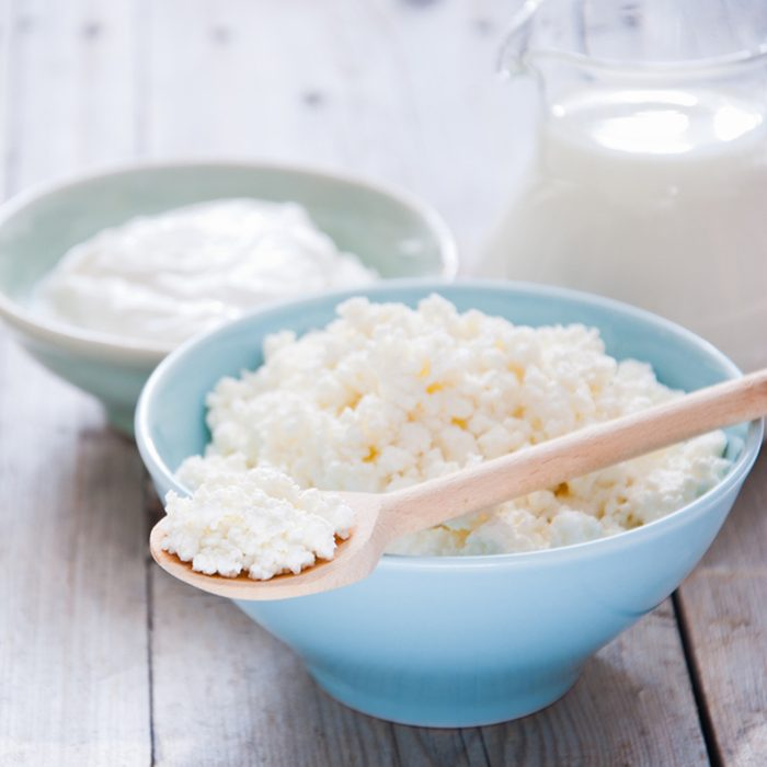 Organic Farming Cottage cheese in a blue bowl