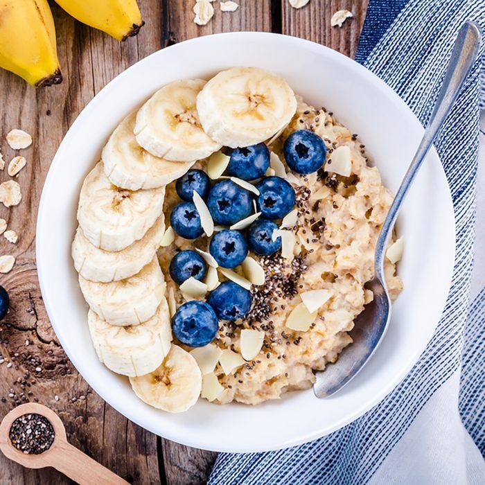 Breakfast: oatmeal with bananas, blueberries, chia seeds and almonds.