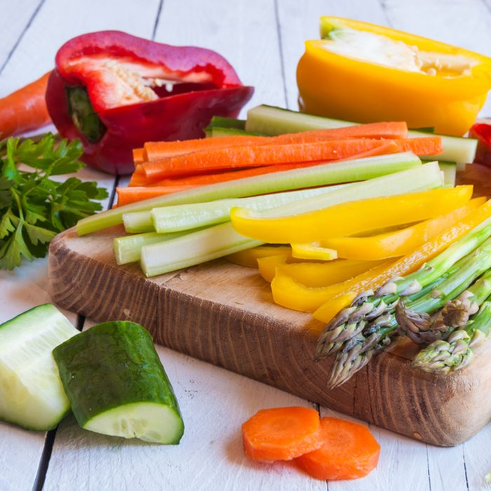 Chopped vegetables on cutting board