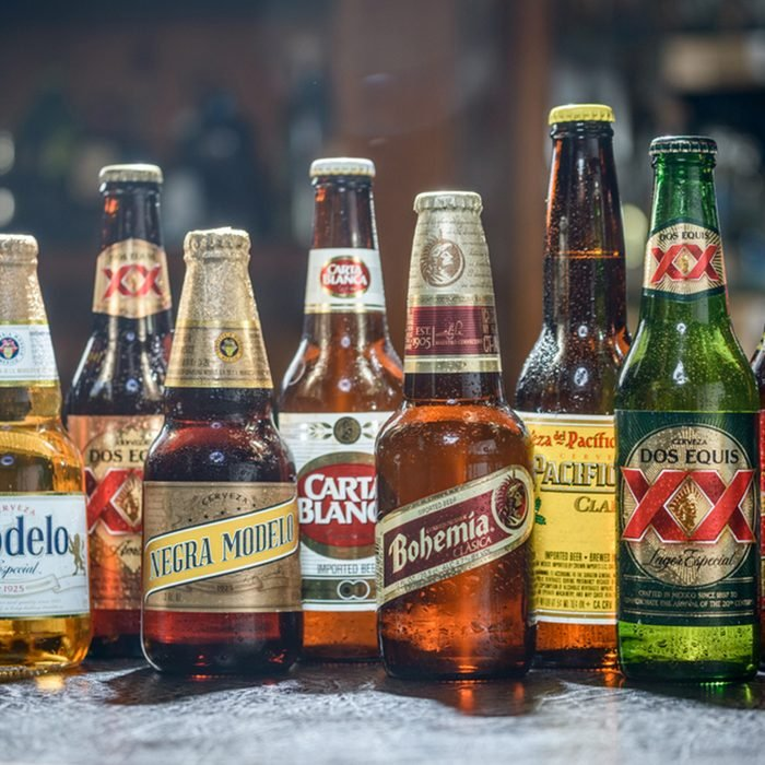 Popular Mexican Beers.