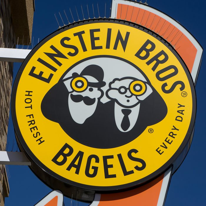Einstein Bros. Bagel sign and logo. Einstein Bros. Bagels is a bagel and coffee chain in the United States.