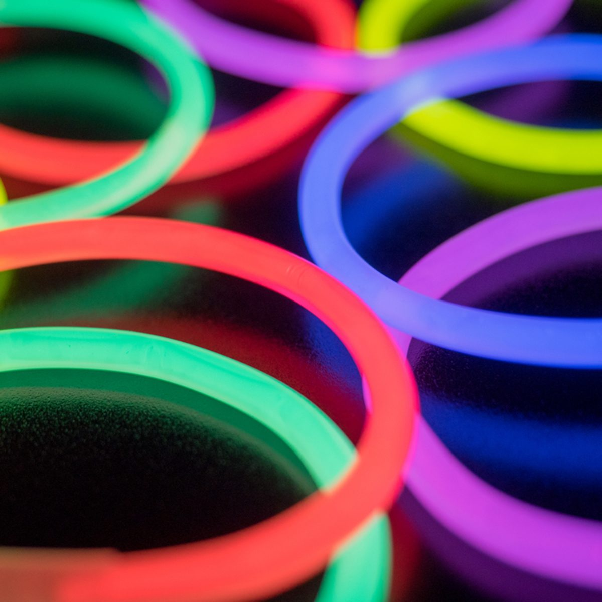 Colorful fluorescent light neon on black background