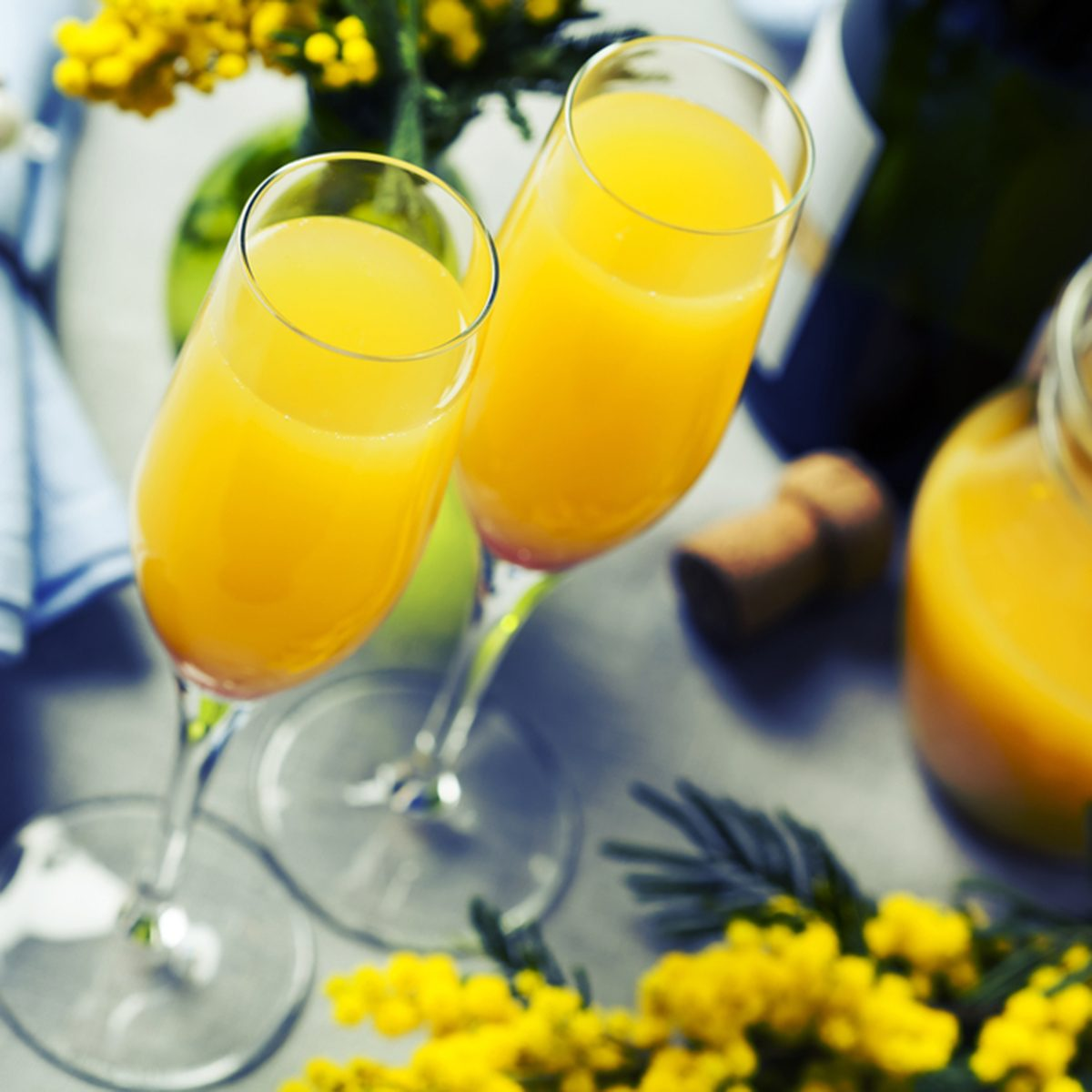 Two glasses with mimosa cocktail