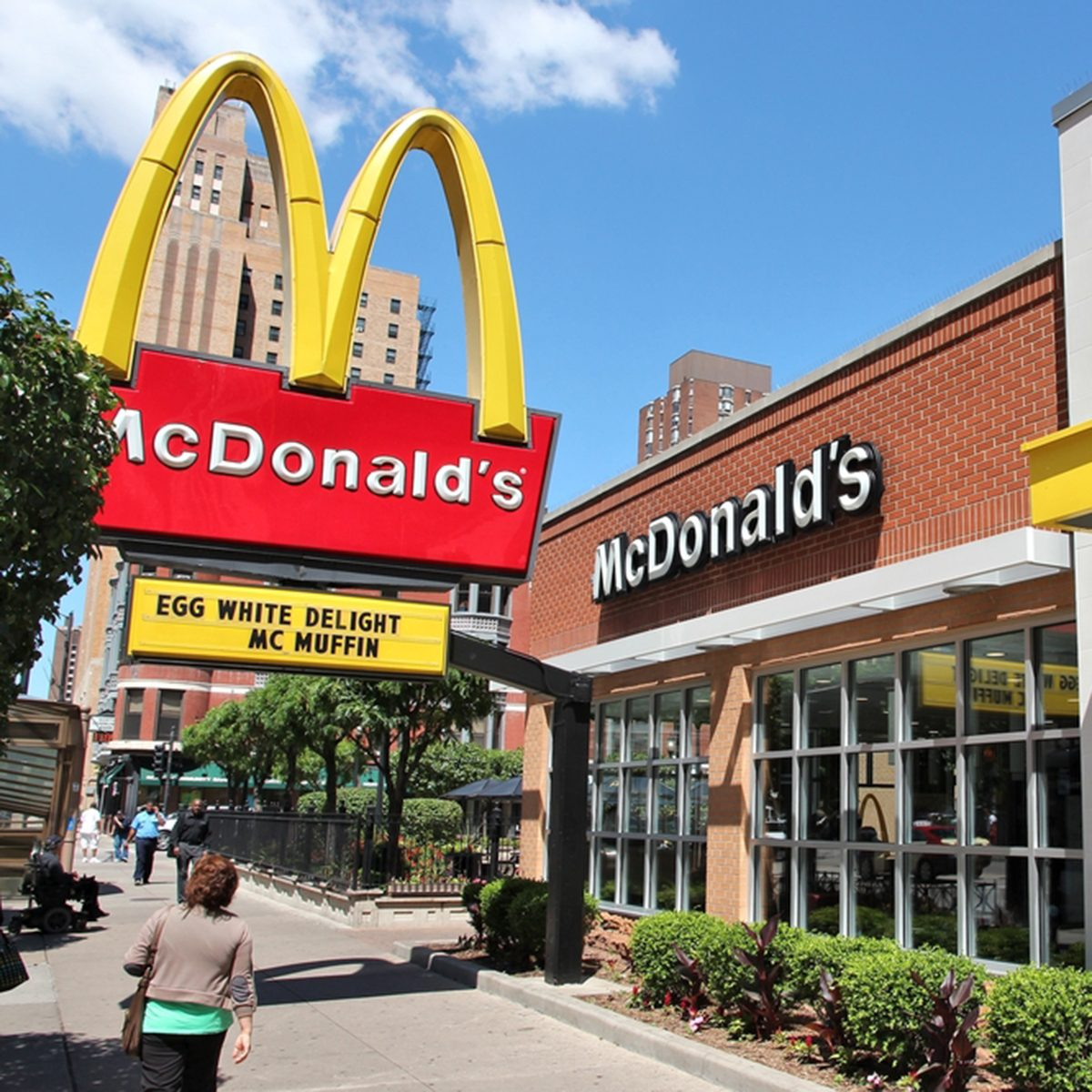 People walk by McDonald's restaurant in Chicago.