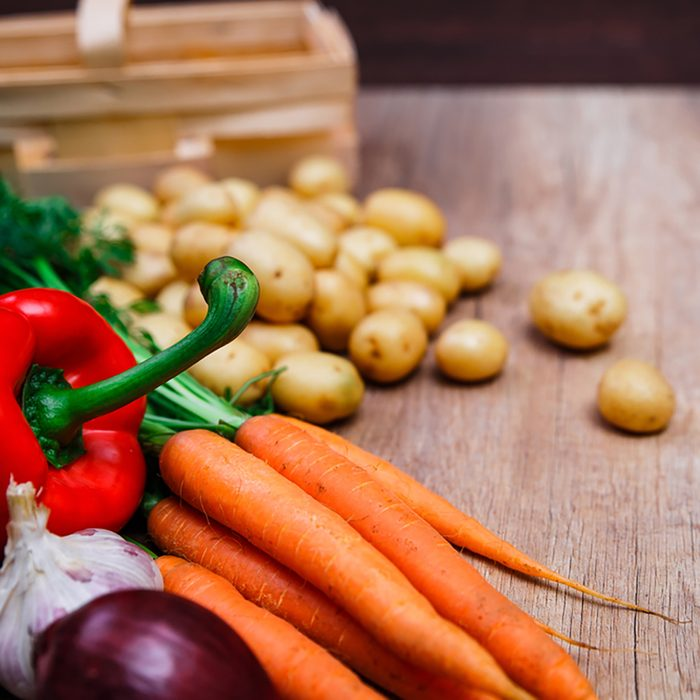 Vegetables. Potatoes, carrot and red pepper. Garlic and onion. Natural organic bio food.