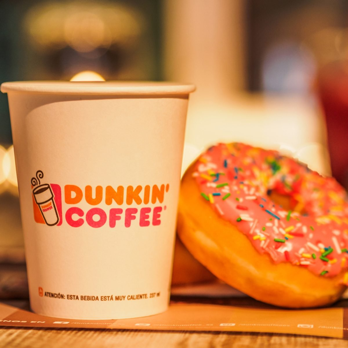 Dunkin Donuts coffee and donuts served