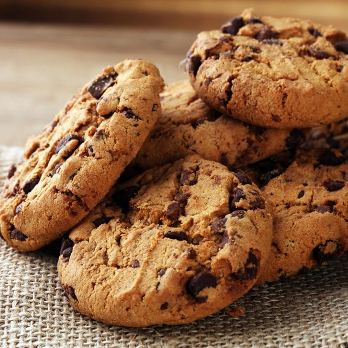 Chocolate cookies on wooden table