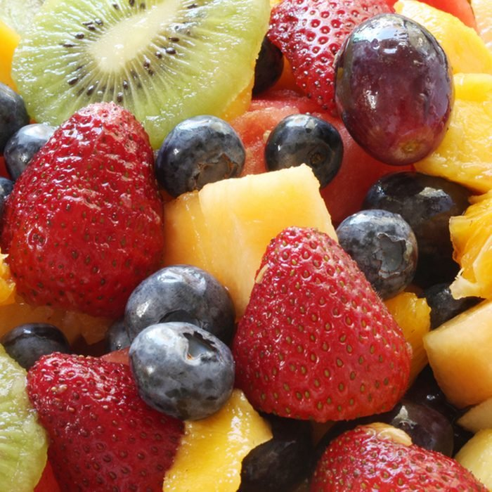 Fresh fruit salad in close-up