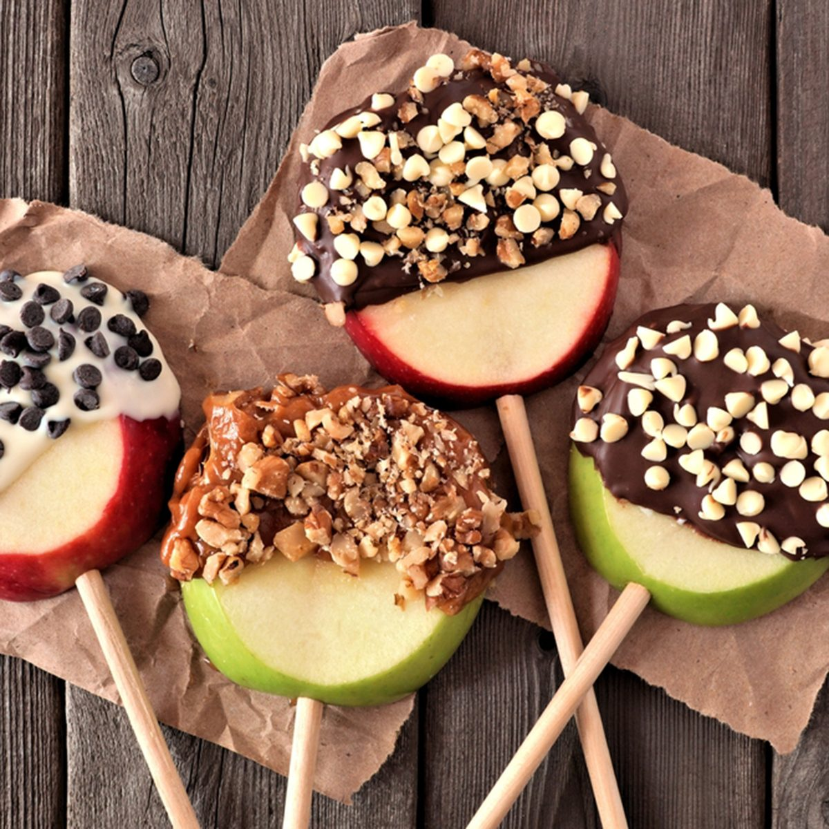 Mixed chocolate and caramel dipped apples rounds