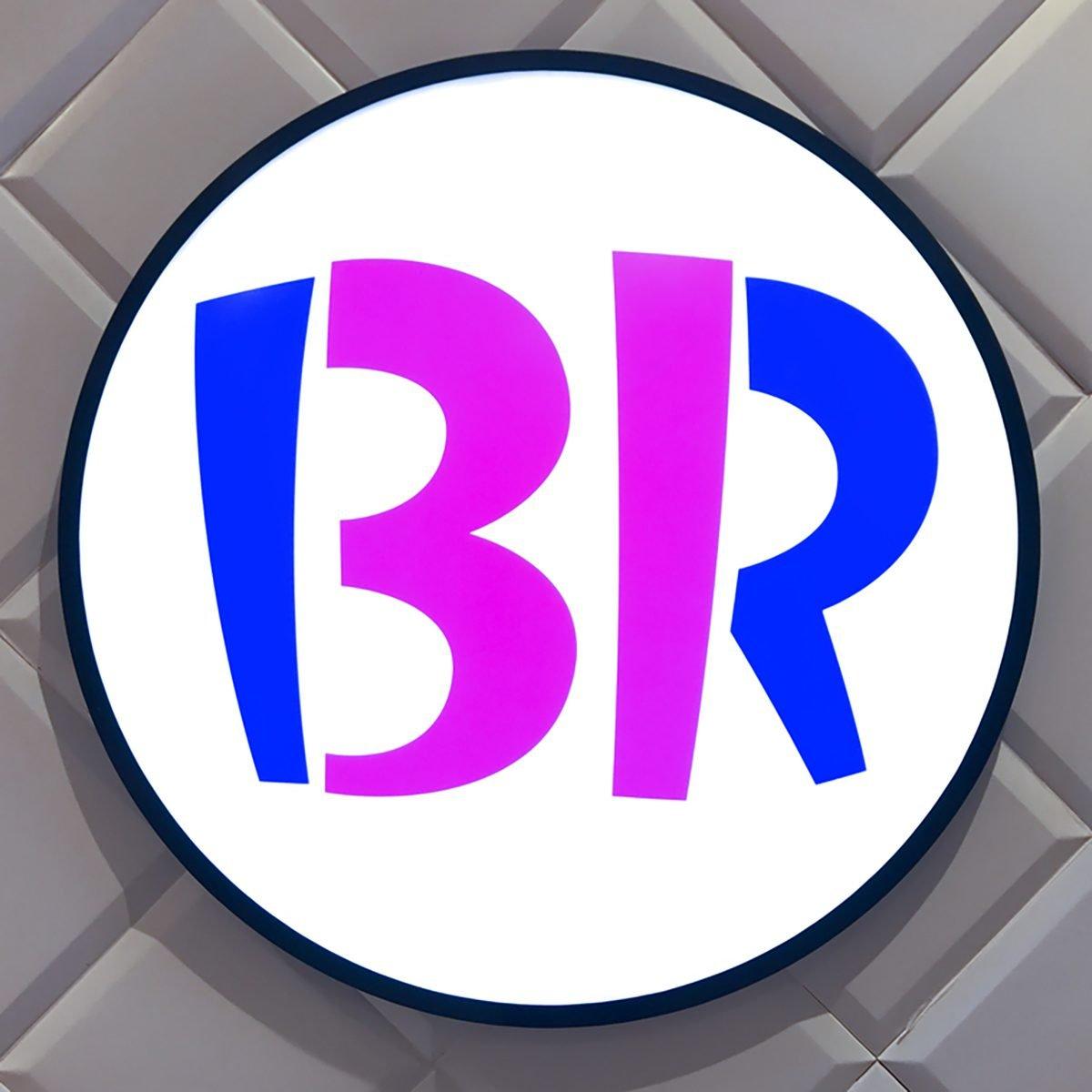 Large Baskin Robbins Logo Signage On White Wall