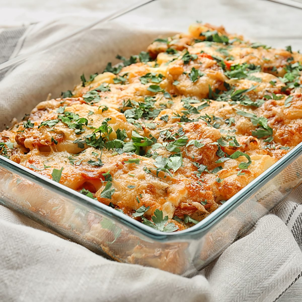 Delicious sausage casserole in baking dish on table; Shutterstock ID 742505116; Job (TFH, TOH, RD, BNB, CWM, CM): Taste of Home