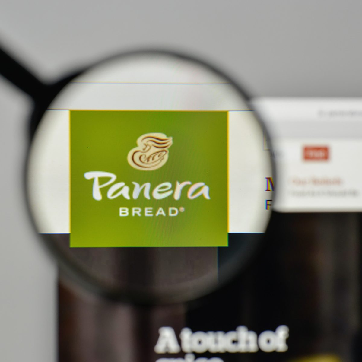 Panera Bread logo on the website homepage