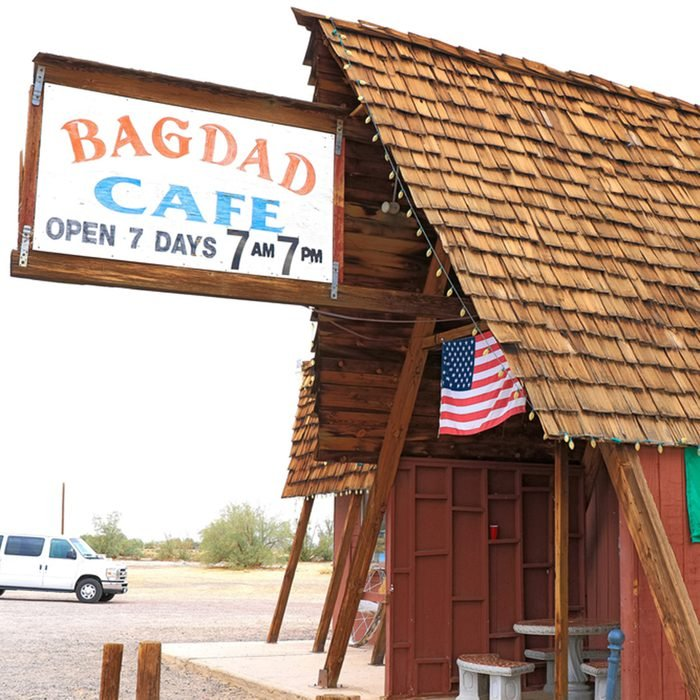 Bagdad, California, USA - Oct 29, 2015: The Bagdad Cafe from the 1960s along Route 66 in the Mojave Desert that was made famous upon the release of the 1987 German film under the same name.; Shutterstock ID 760708666; Job (TFH, TOH, RD, BNB, CWM, CM): TOH