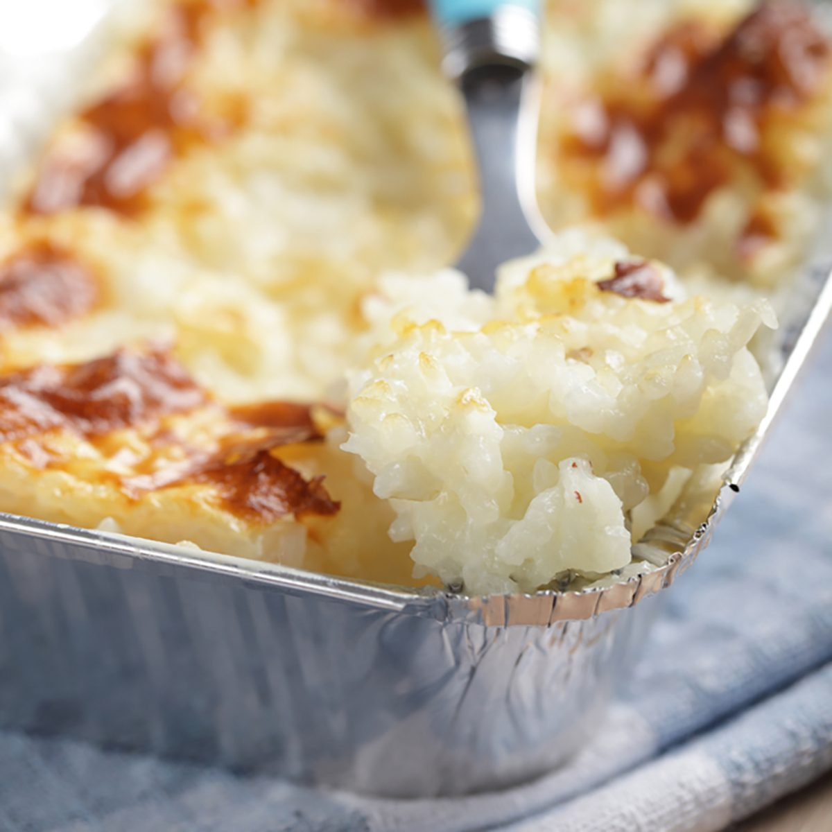 Rice pudding in the disposable aluminum baking pan