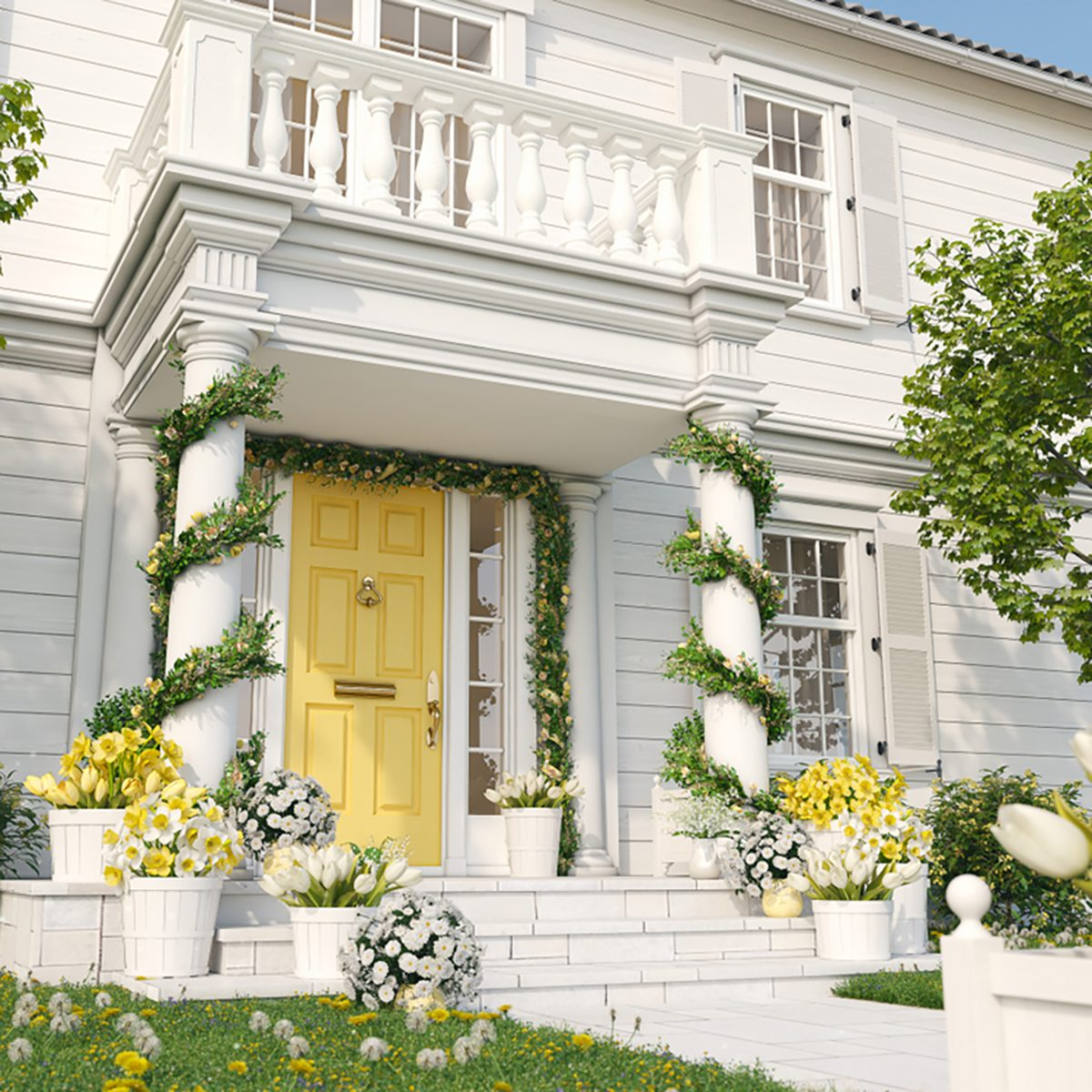 spring decorated porch with tulips and other flowers.