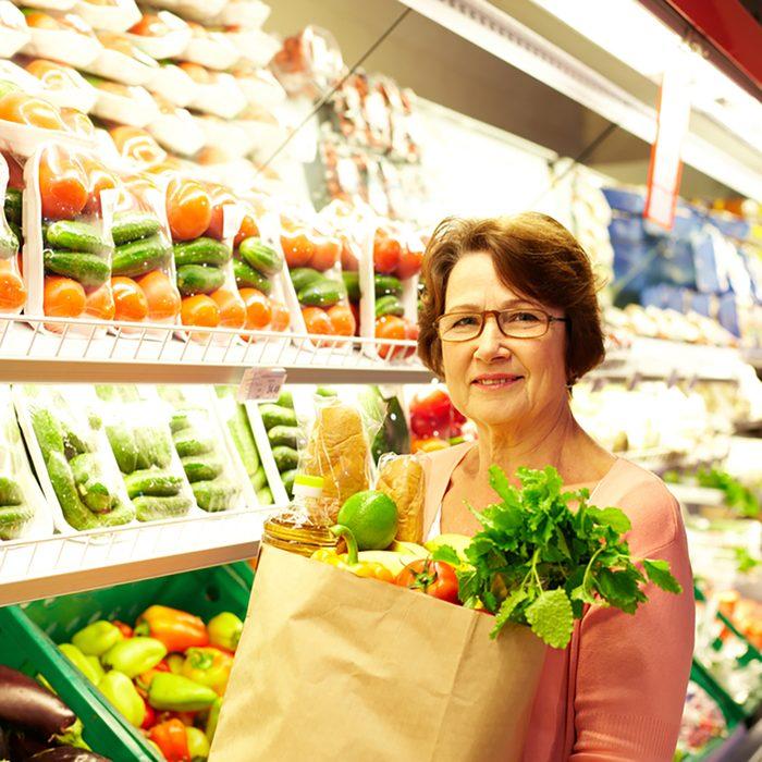 Image of senior woman in groceries department