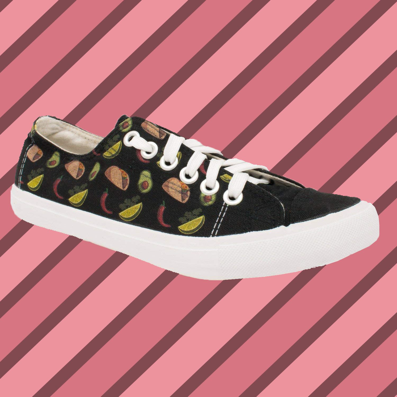 Ann Arbor T-shirt Co. Taco Sneakers | Cute, Fun Mexican Food Guacamole Funny Foodie Gym Tennis Shoe