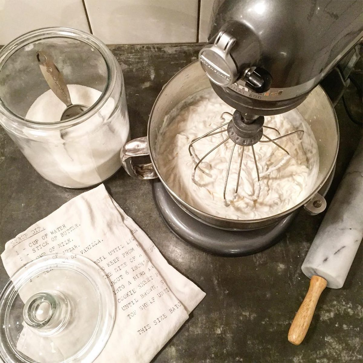 baking with a KitchenAid, sugar and a rolling pin
