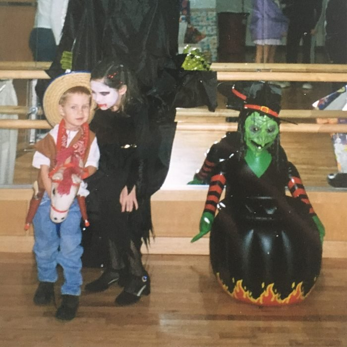 children dressed in costumes for Halloween