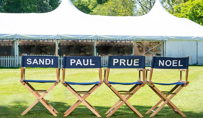The Great British Bake Off chairs for the judges