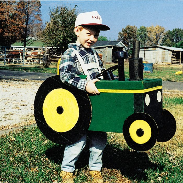 young boy dress as tractor for Halloween costume /CT Magazine/2000/September-October-2000_10125/2829-4041_HiRes