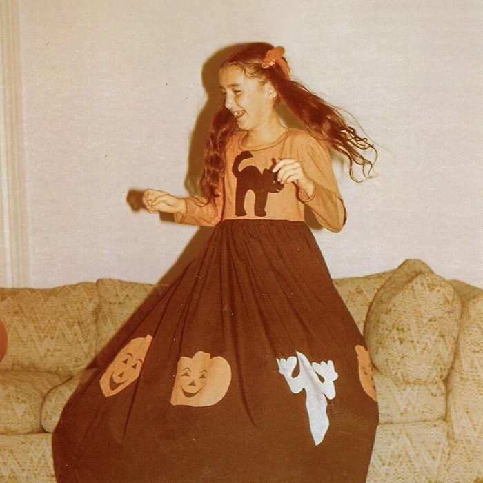child with Halloween costume on