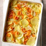 Carrot, Parsnip and Potato Gratin