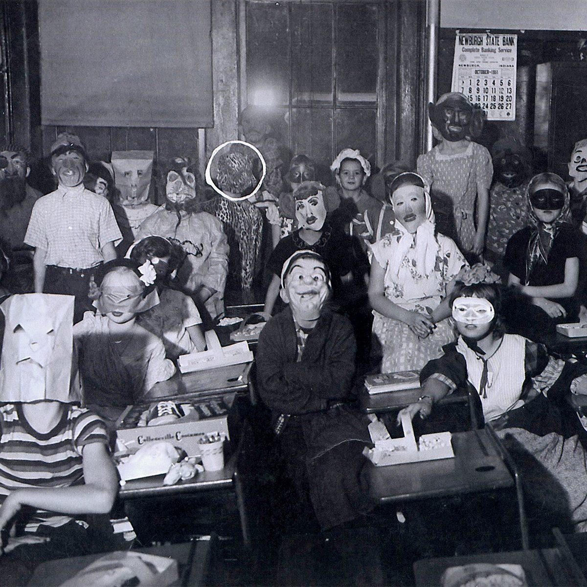 children at school, Halloween party at school