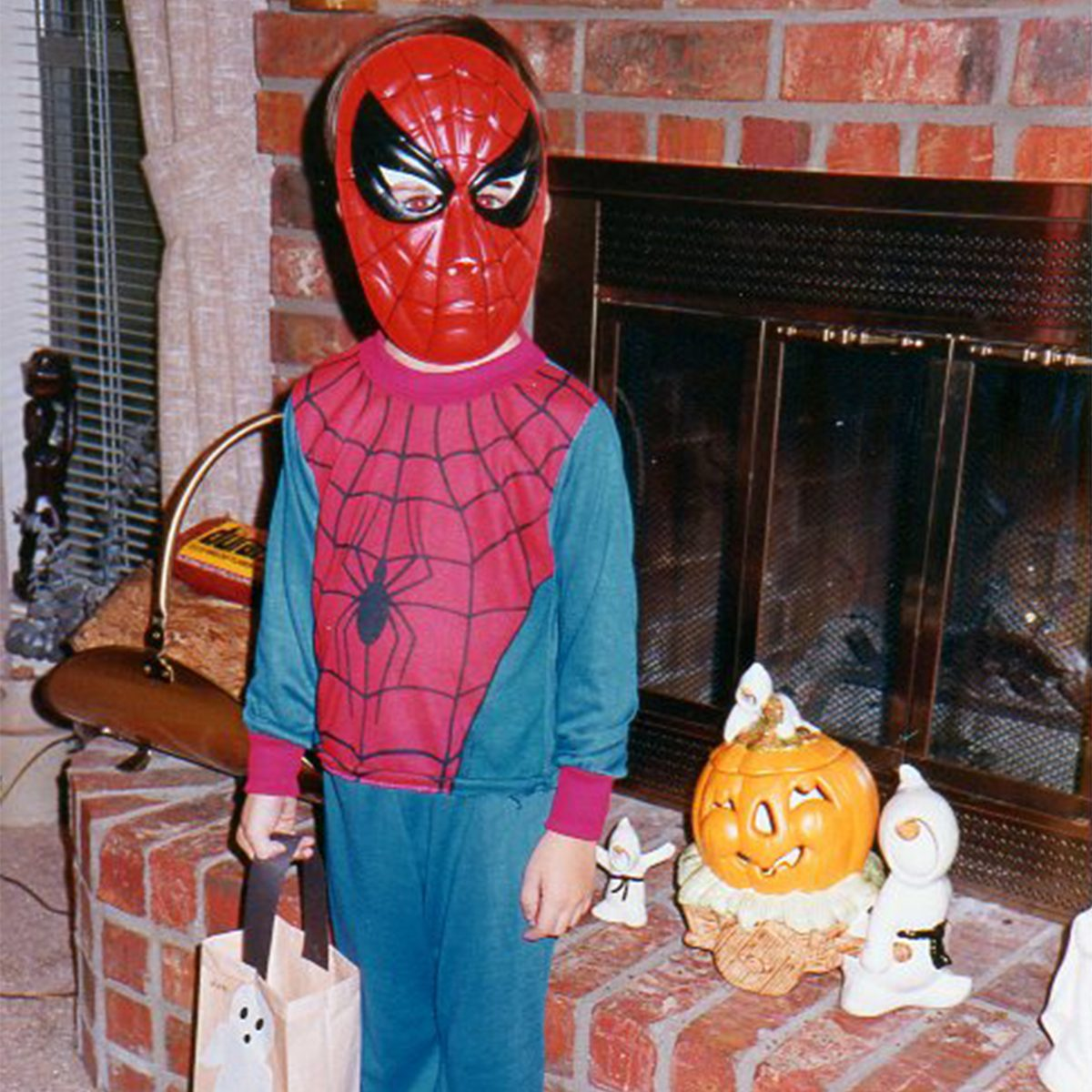 child dressed as spiderman for Halloween