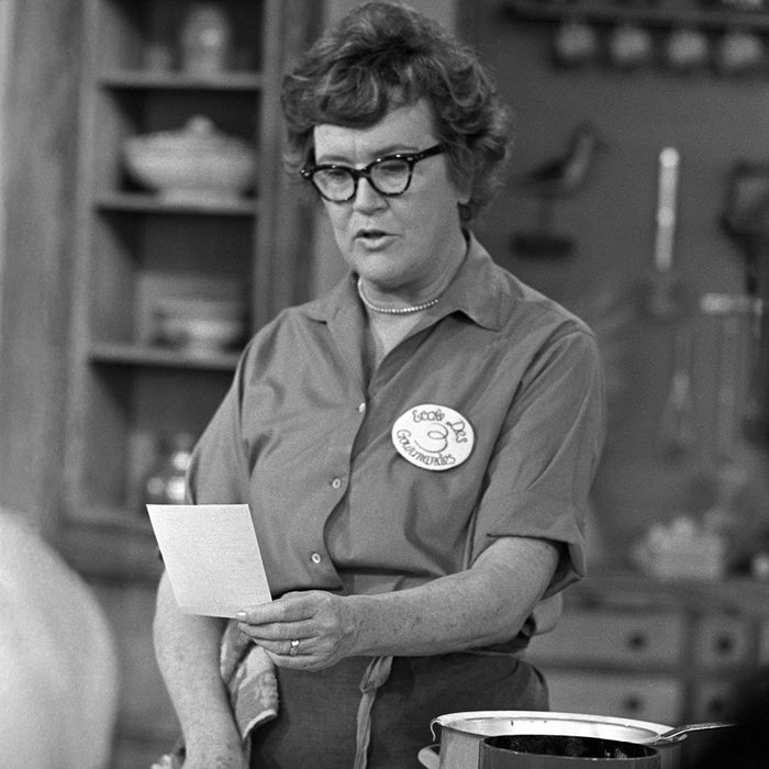 Julia Child cooking on the set of her WGBH cooking show