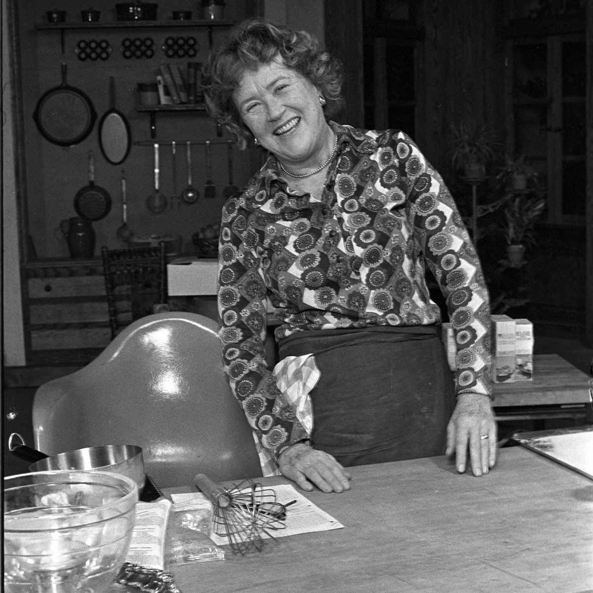 Julia Child on the set of her cooking show, 'The French Chef Julia Child'