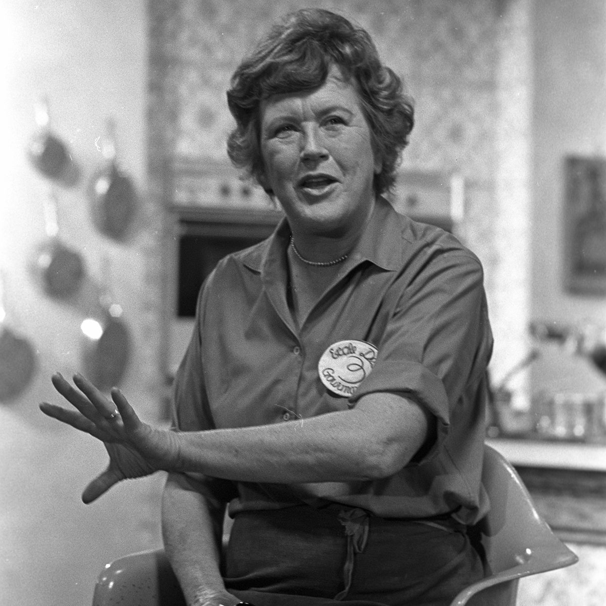 Julia Child cooking on the set of her WGBH cooking show, 'The French Chef Julia Child