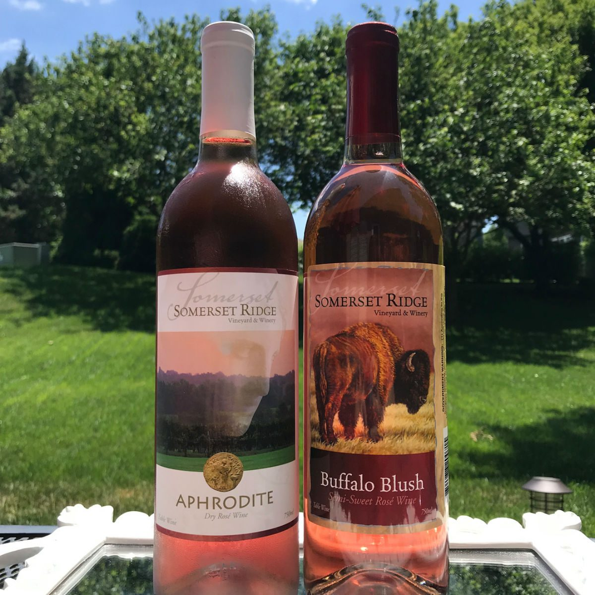 Two wine bottles at Somerset Ridge Vineyard & Winery