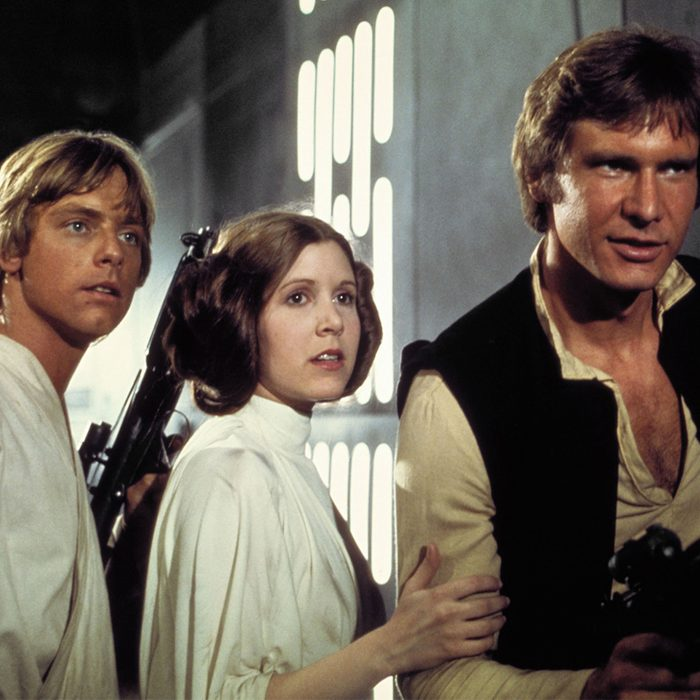 still of Star Wars A New Hope, Mark Hamill, Carrie Fisher, Harrison Ford