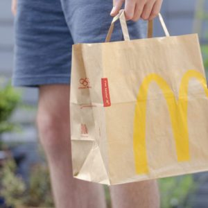 Close up of a McDonald's Take Away Food Brown Paper Bag