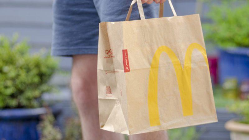 Close up of a McDonald's Take Away Food Brown Paper Bag