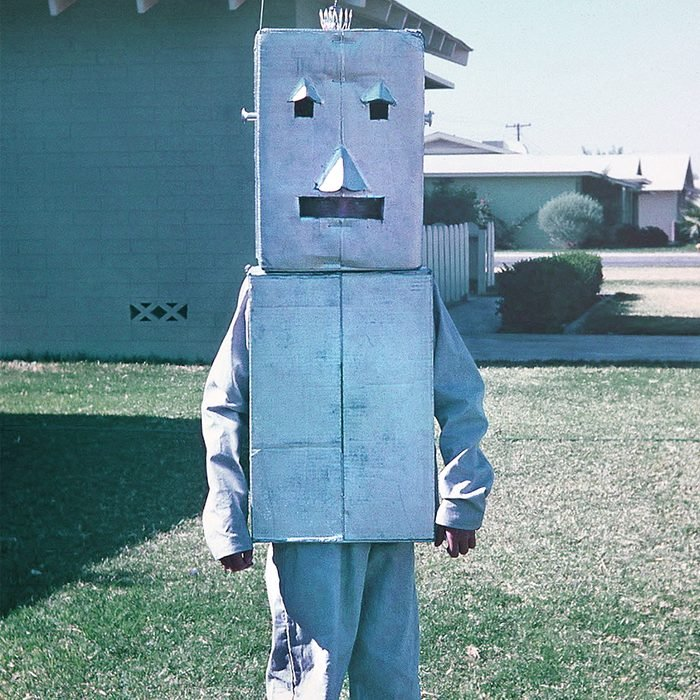 child dressed as robot for Halloween