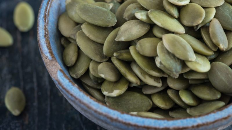 Pepita Seeds in blue pottery bowl